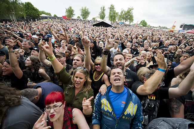 Så här såg det ut när Sweden Rock tjuvstartade i dag. Ser du dig själv på bilden? Grattis. Foto: Rickard Nilsson