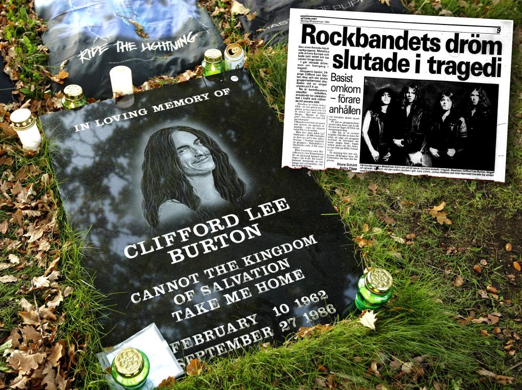 Sedan några år tillbaka finns det en minnessten på platsen där Burton dog. Infälld Aftonbladets artikel den 28 september 1986. Foto: Mats Samuelsson