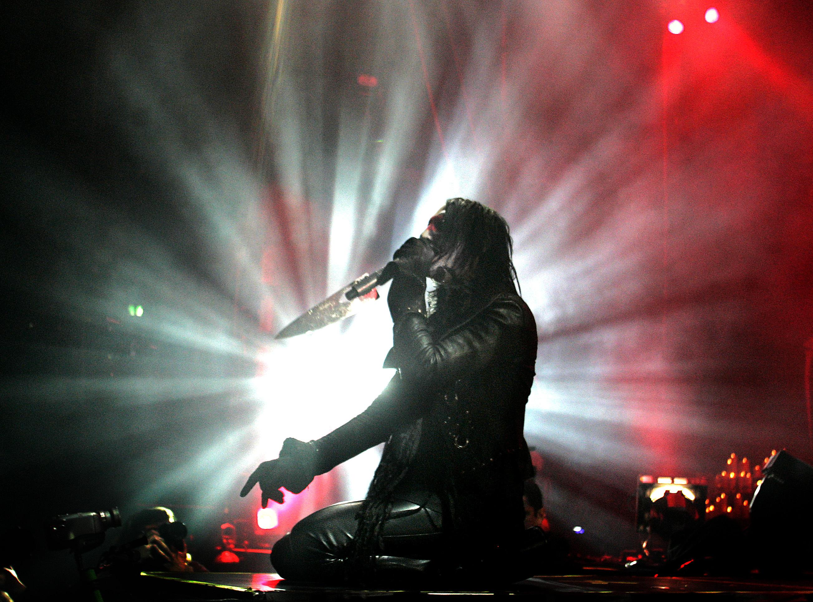 Manson på scen i Stockholm den 15 december 2007. Foto: Robin Lorentz-Allard